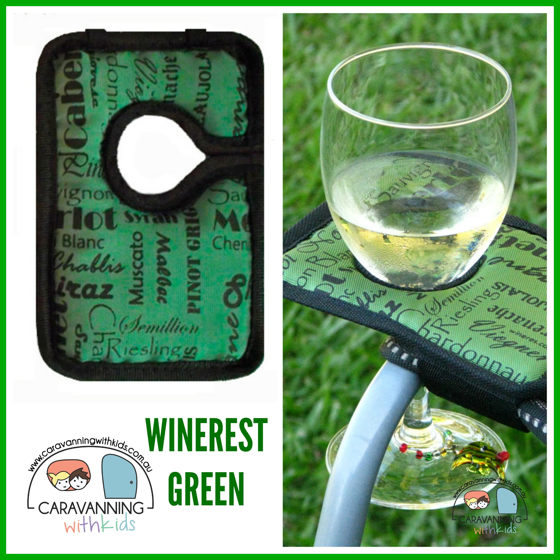Winerest Camping Chair wine glass holder GREEN