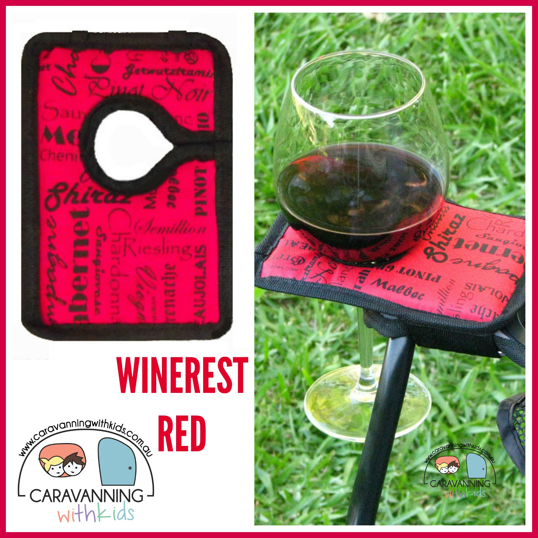 Winerest Camping Chair wine glass holder RED