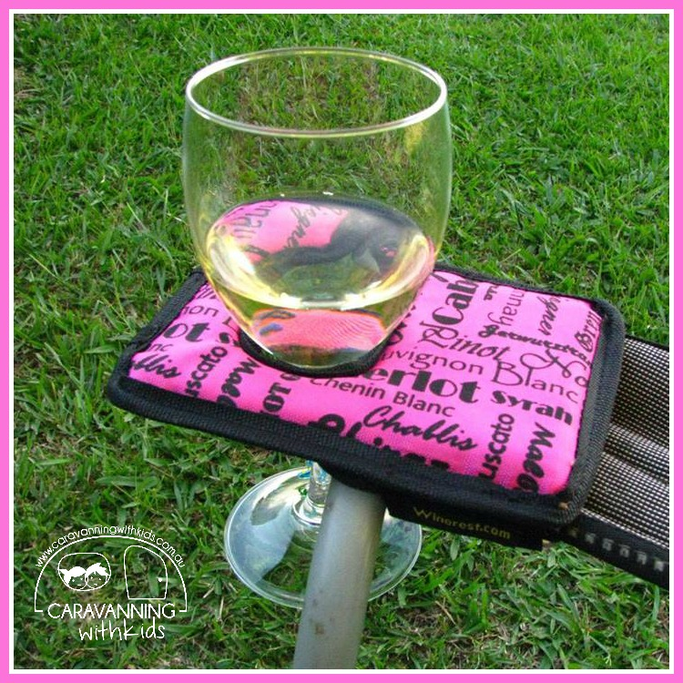 Winerest Camping Chair Wine Glass Holder Pink Caravanning With Kids